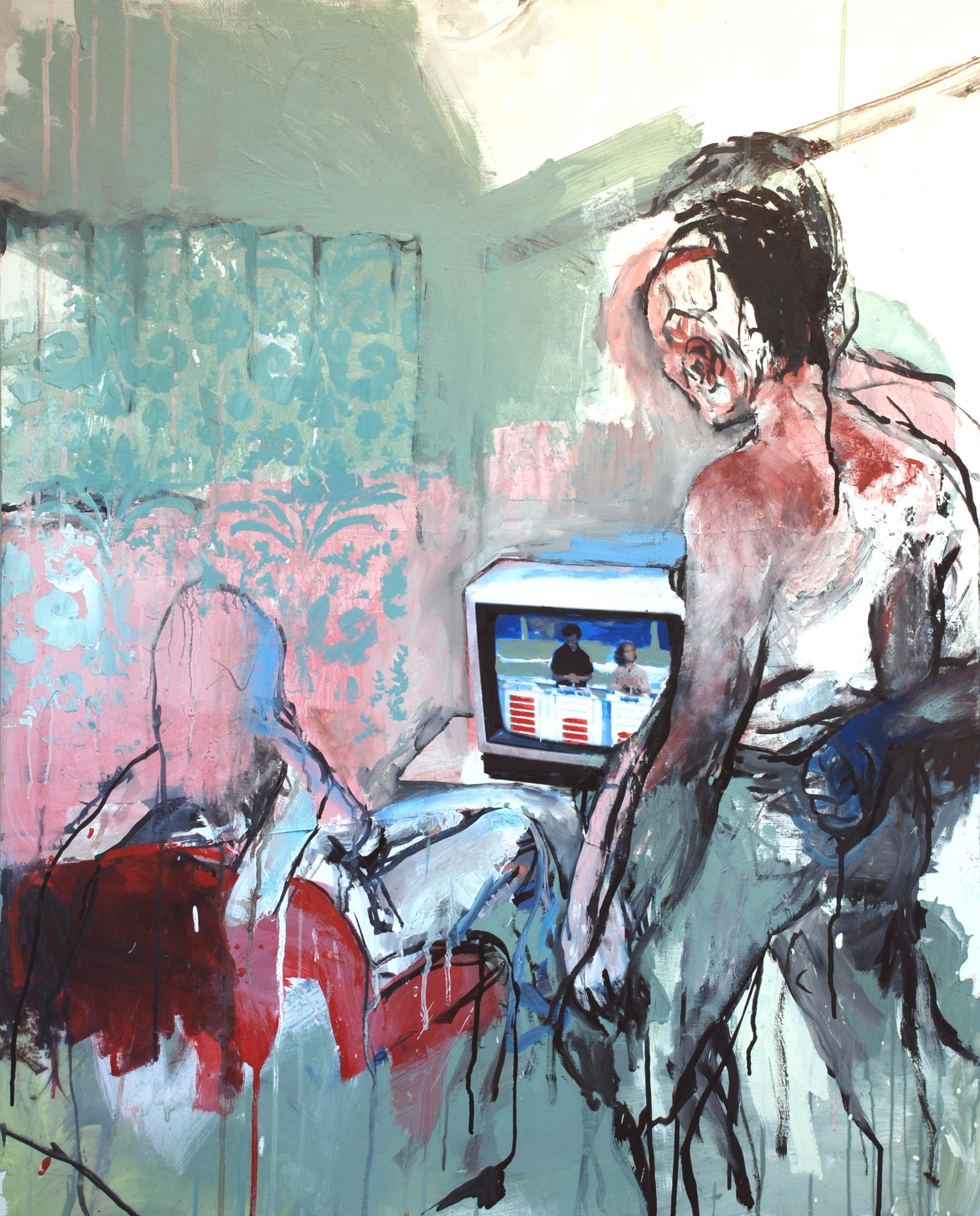 Série TV (3) : 81 X 100 cm / Acrylique sur toile et collage