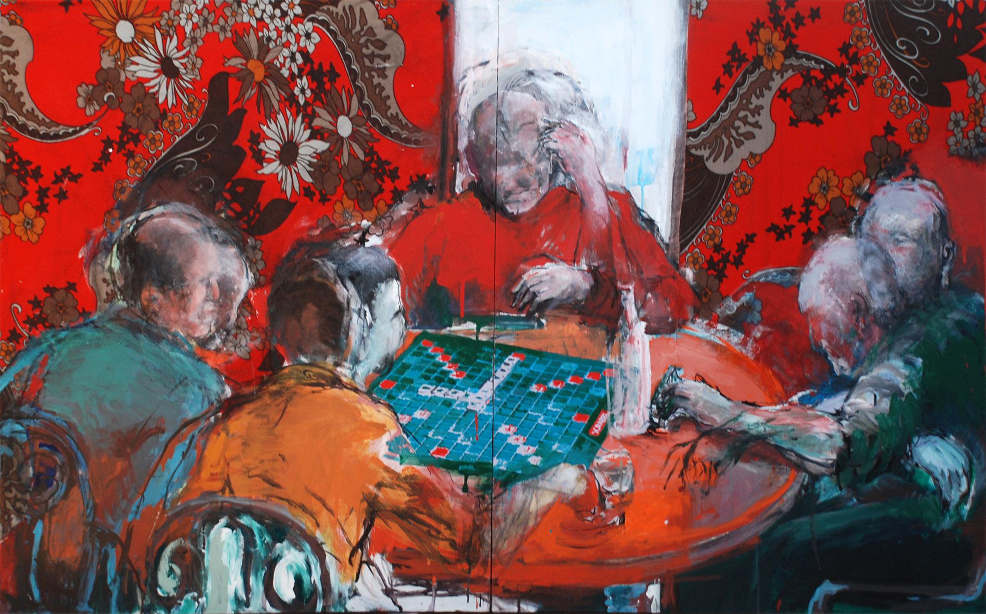 Une partie de scrabble (1) : 160 X 100 cm  / Acrylique sur toile et collage